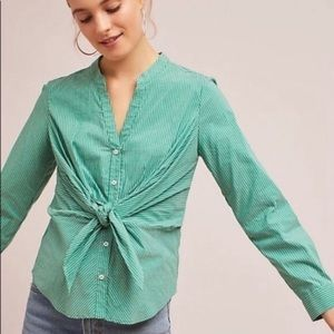 Anthropologie Maeve Green Katherine Knot L/S Top